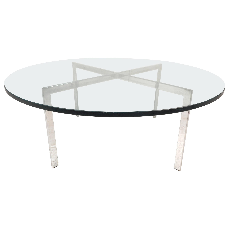 "Mid-Century Modern ""x"" Base Circular Chrome Coffee Table"
