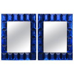 Studio-Built Cobalt Blue Glass Mirror