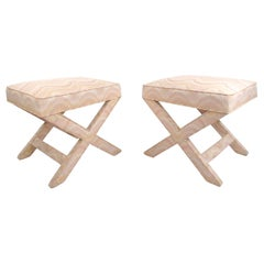 """Pair of Mid-Century Modern """"X"""" Base Billy Baldwin Style Benches"""