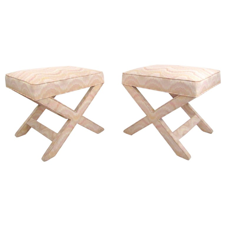 "Pair of Mid-Century Modern ""X"" Base Billy Baldwin Style Benches For Sale"