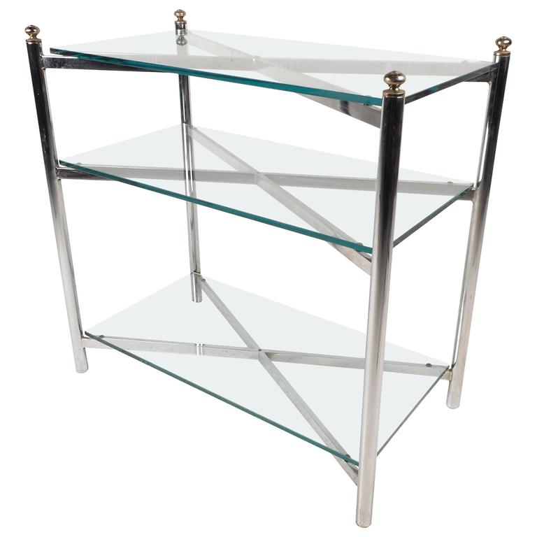 Mid-Century Modern Chrome and Glass Display Shelf in the Style of Maison Jansen