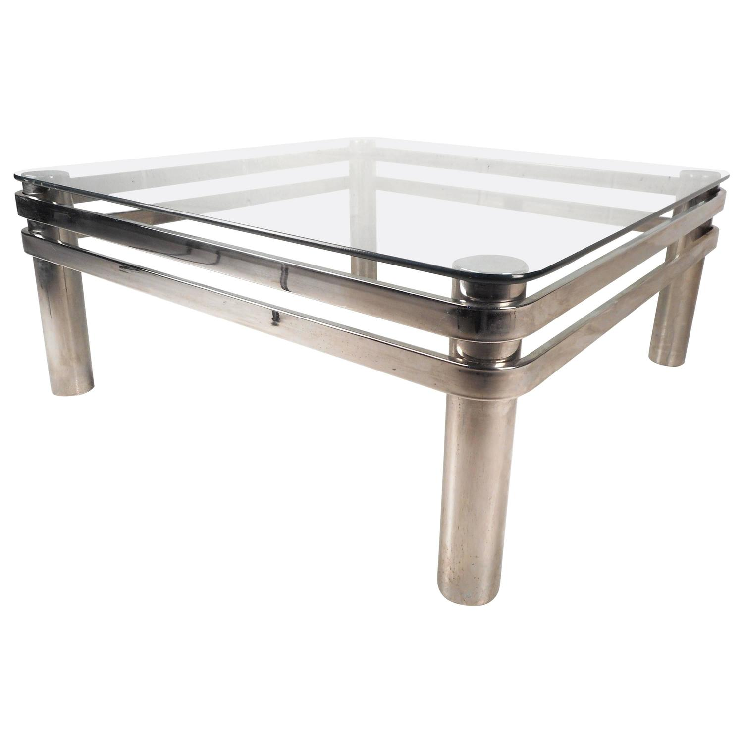 Mid Century Modern Tubular Chrome And Glass Coffee Table At 1stdibs