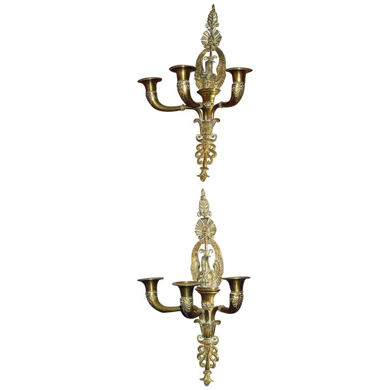 19th Century French Empire Swan Motif Sconce Pair