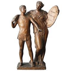 """Alma Mater,"" Antique Bronze for Boston School by Daniel Chester, French"