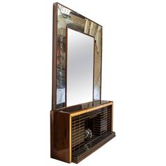 Amazing Rosewood Sideboard with Backlit Mirror Made by Luigi Brusotti