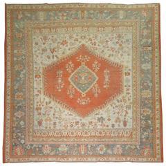 Square Antique Turkish Oushak Rug