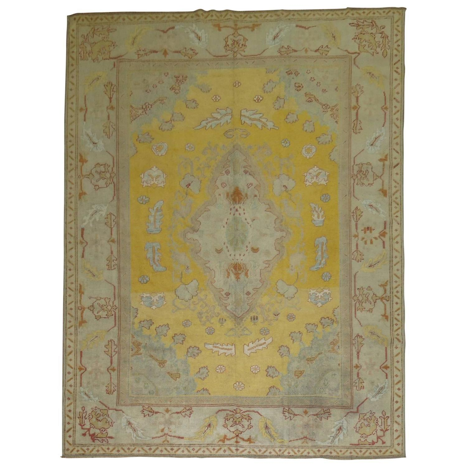 Turkish Ground Rug: Yellow Field Antique Oushak Rug For Sale At 1stdibs
