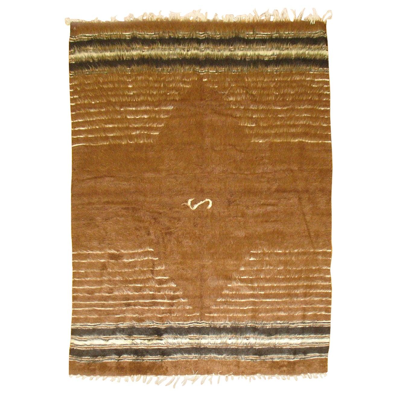 Brown Vintage Turkish Mohair Blanket Rug