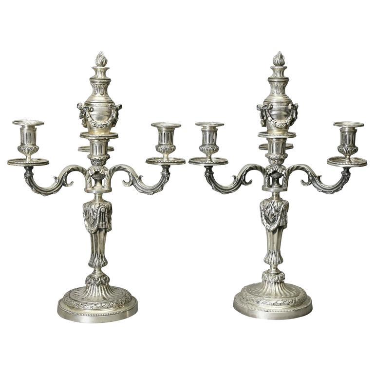 Pair of Louis XVI Style Silvered Bronze Candelabra