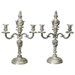 Pair of Louis XVI Style Silvered Bronze Candelabra