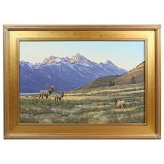 Landscape with Elks Oil Painting by William G. Smith