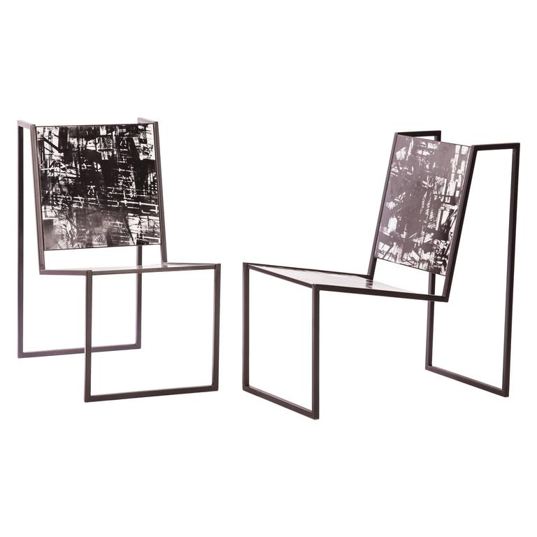 Steel and Tile Chiaroscuro Chairs by Pedro Barrail For Sale