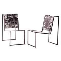 Steel and Tile Chiaroscuro Chairs by Pedro Barrail