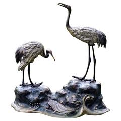 Bronze Sculpture of Japanese Cranes