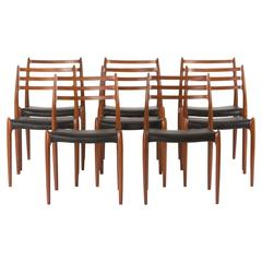 Set of Eight Teak Dining Chairs by Niels O. Møller