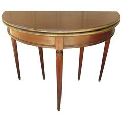 French Demilune with Bronze Trim Converts to Game Table