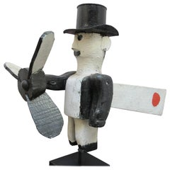 Man in Top Hat Whirligig Folk Art