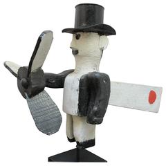 Man in Top Hat Whirligig Folk Art