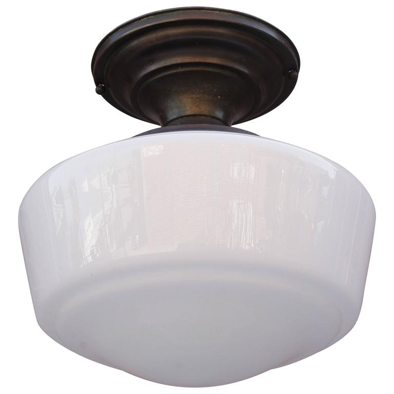 1930s Ceiling Light Fixture With Milk Glass Globe 1