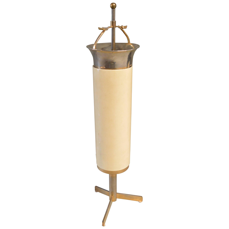 Aldo Tura Goatskin and Brass Mechanical Ashtray