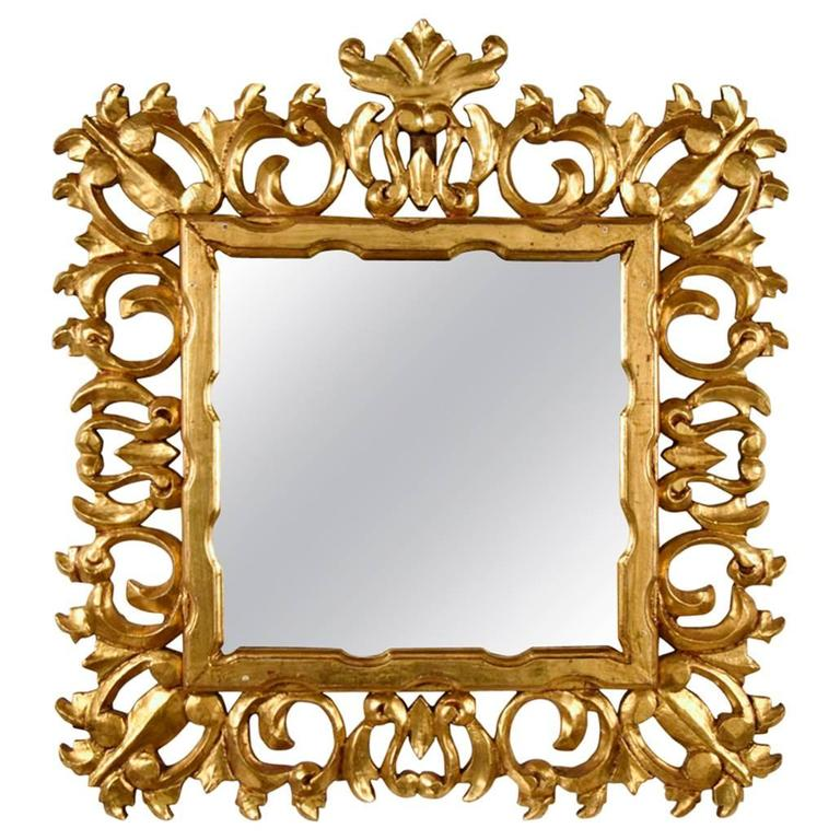 Italian giltwood mirror in baroque style for sale at 1stdibs for Baroque mirror