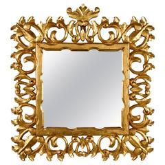 Italian Giltwood Mirror in Baroque Style