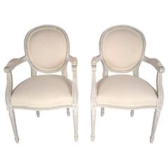 Pair of French Louis XVI-Style Armchairs
