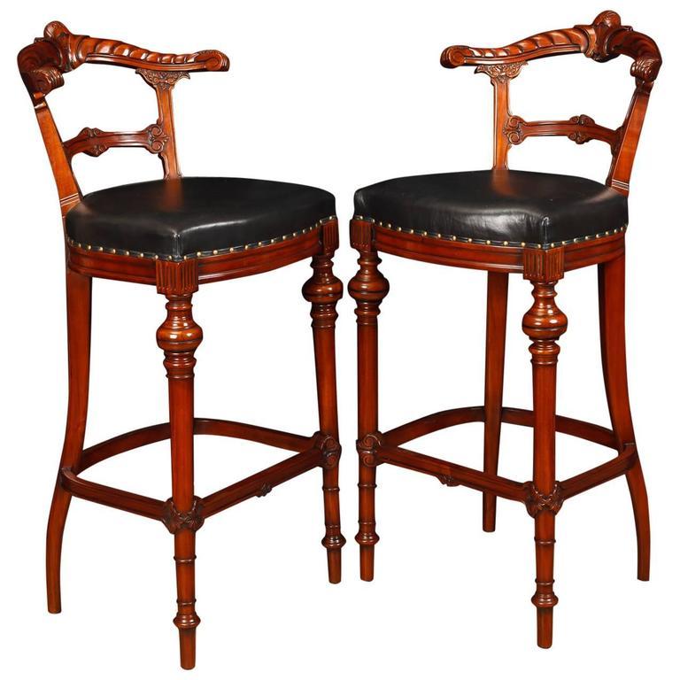 Pair Of Victorian Style Hand Carved Mahogany Bar Stools