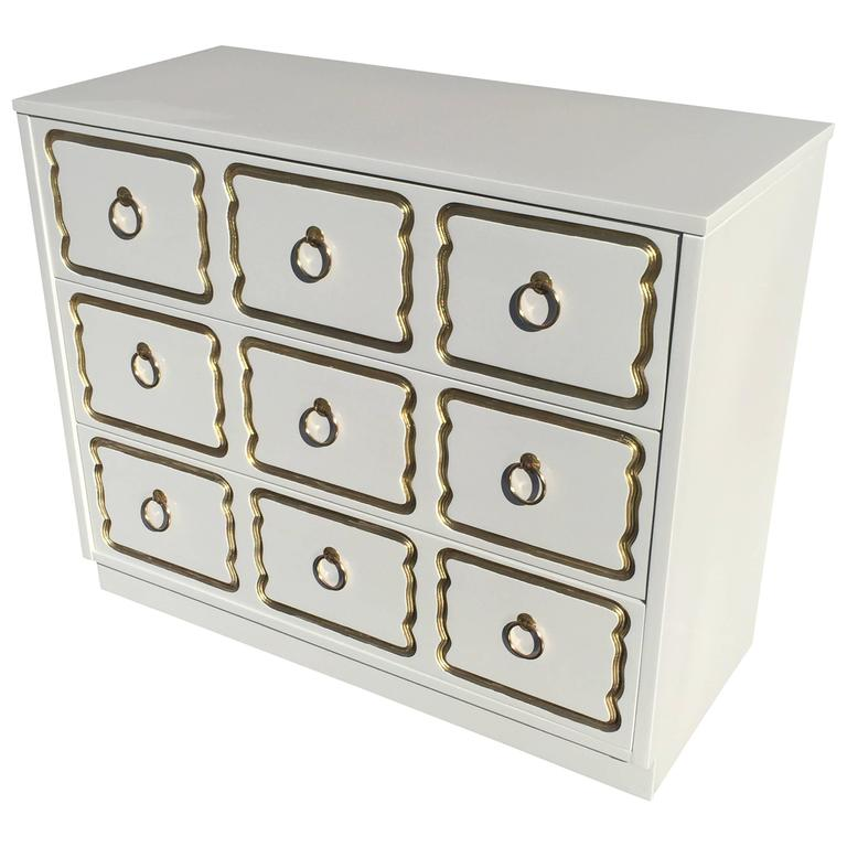 Espana Chest by Dorothy Draper in Cream Lacquer and Gold