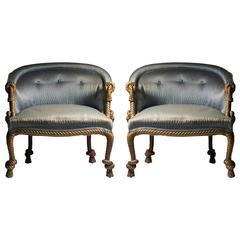 Pair of Vintage Rope & Tassel Lounge Chairs