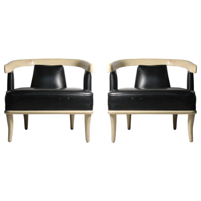 Vintage Hollywood Regency Harvey Probber Style Open Back Designer Chairs 1