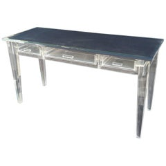 Elegant Lucite Desk with Mirror Top Style of Charles Hollis Jones