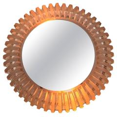 Petite Illuminated Mirror with Frosted Glass Attributed to Hillebrand