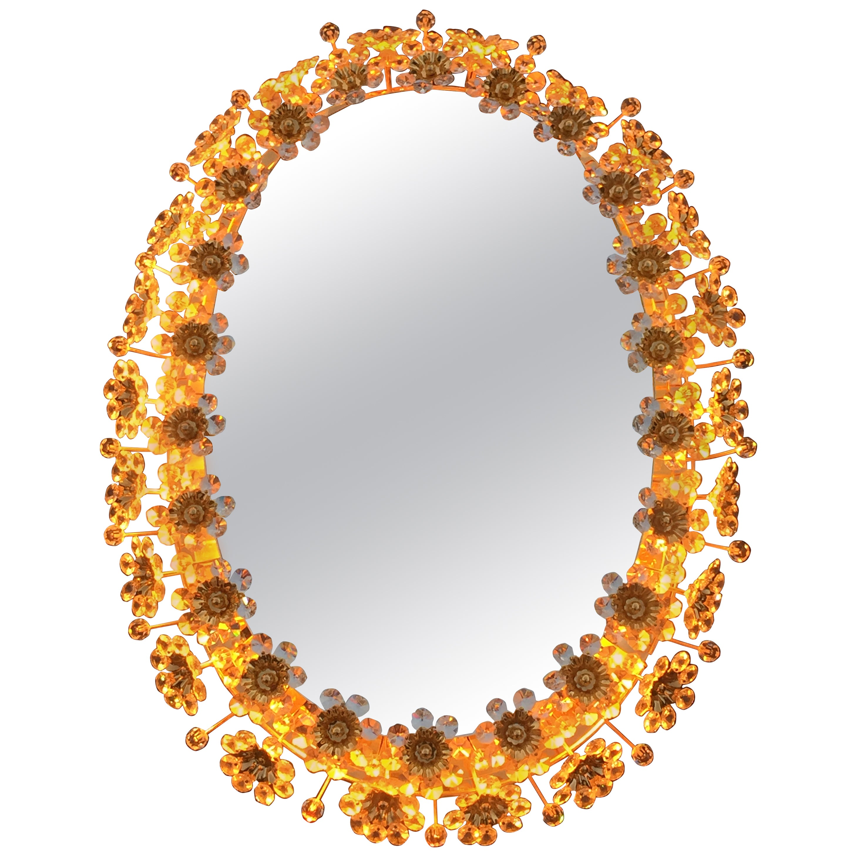 Illuminated Mirror with Crystal Flowers by Palwa