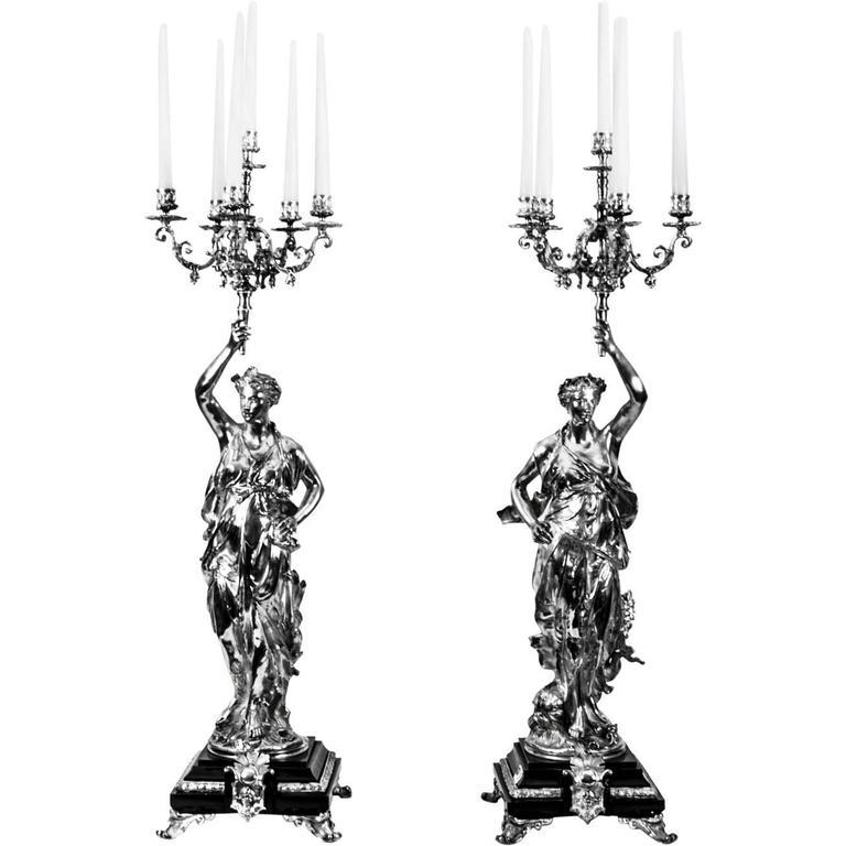 Stunning Pair of Silvered Bronze Candelabra, Gregoire