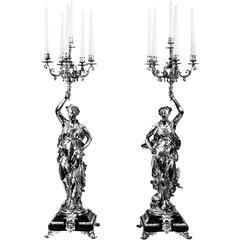 Stunning Pair of Silvered Bronze Candelabra, Gregoire