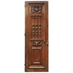 Antique French 18th Century Carved Oak Door
