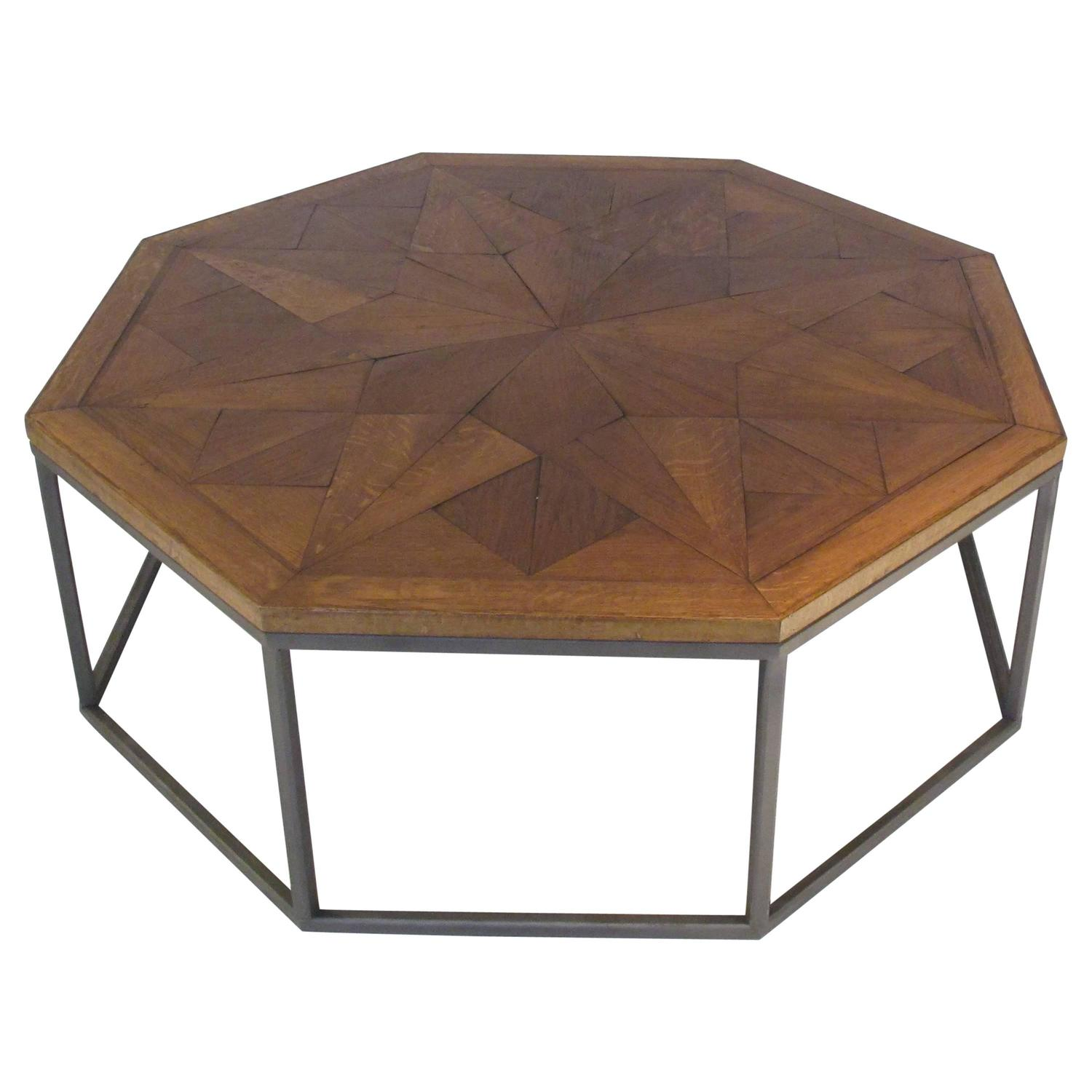 bespoke octagon coffee table with a 19th century oak top