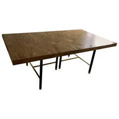 Harvey Probber Extendable Dining Table With Oak Top and Black Metal Frame
