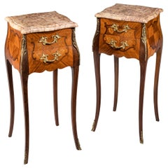 Pair of Late 19th Century Kingwood and Marquetry Petit Commodes