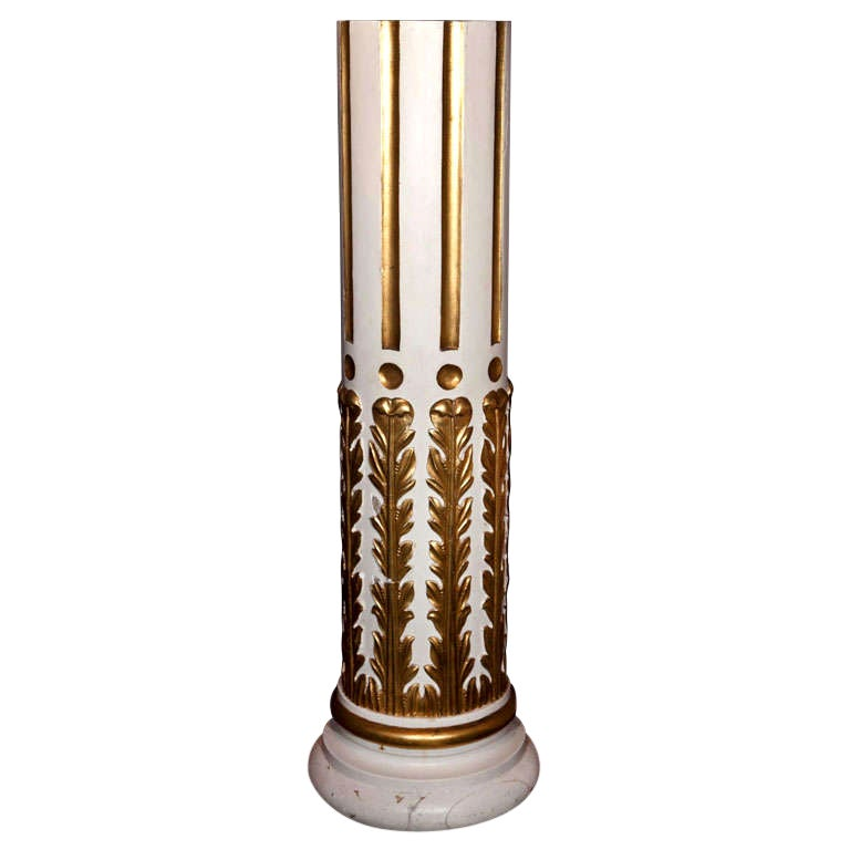 French Painted and Gilt Carved Wood Pedestal