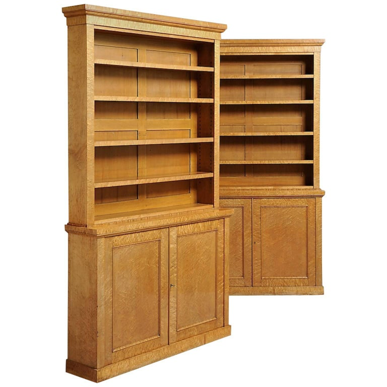Pair of Maple Bookcases For Sale