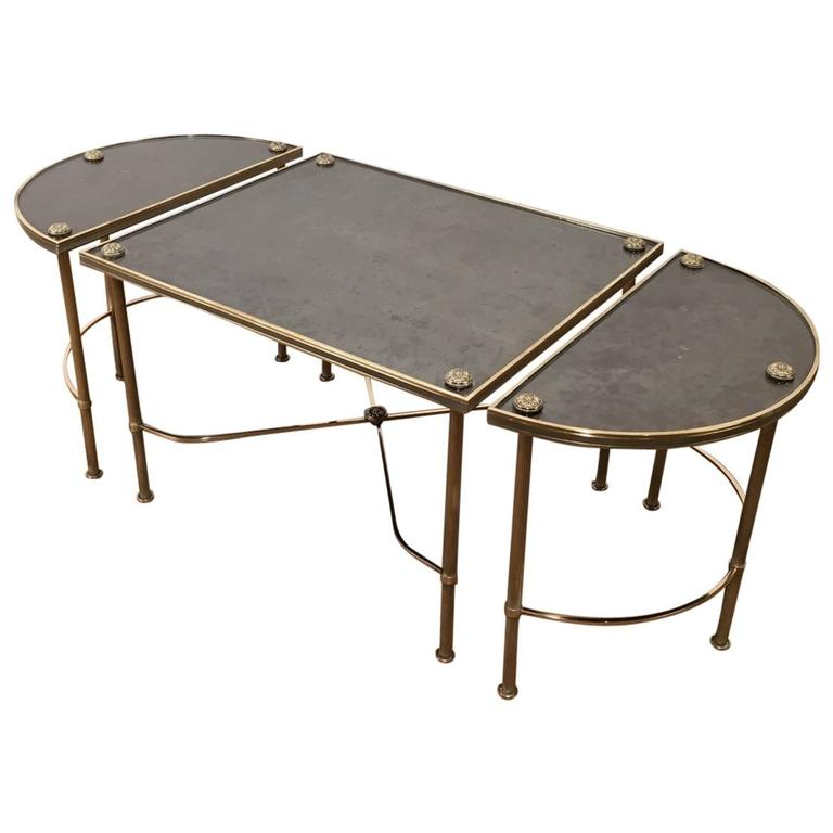Mid Century French Maison Bagu S Three Part Coffee Table With Antiqued Mirror At 1stdibs