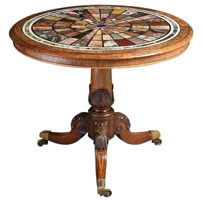 19th Century specimen marble, rosewood and marquetry centre table.