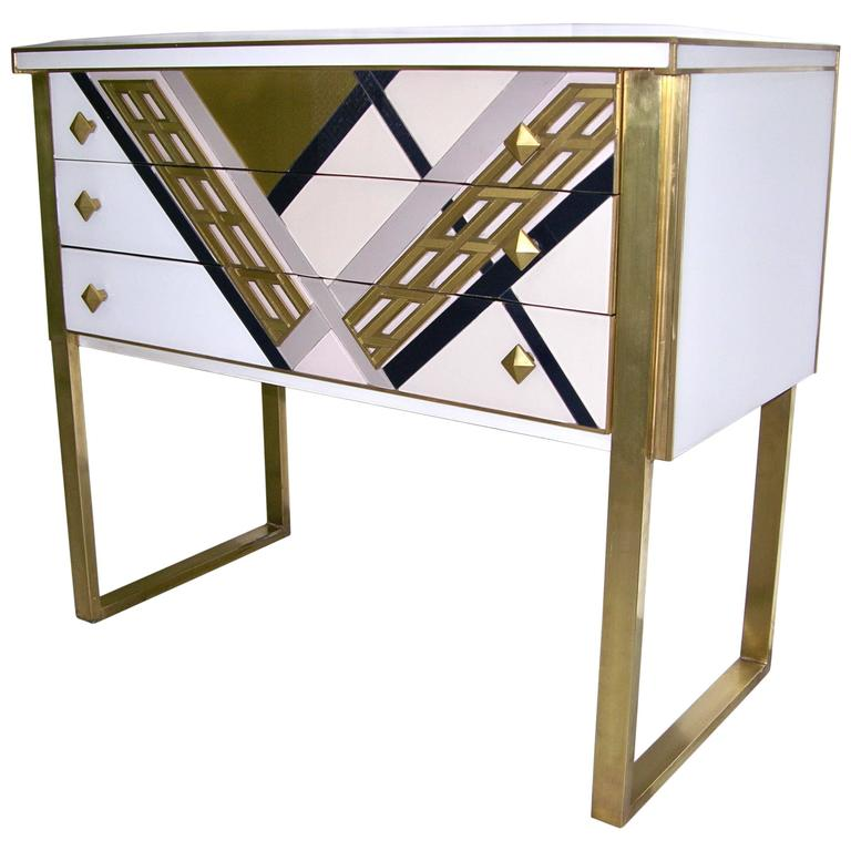 1990s Italian Unique White Black and Gold Chest or Sideboard on Brass Legs