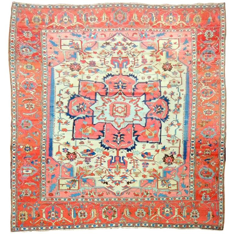 Ivory Field Antique Persian Serapi Rug For Sale