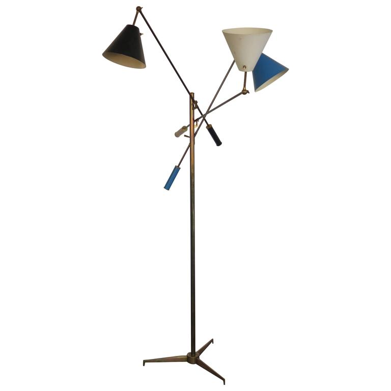 "Original Arredoluce ""Triennale"" Three Arm Floor Lamp For Sale"