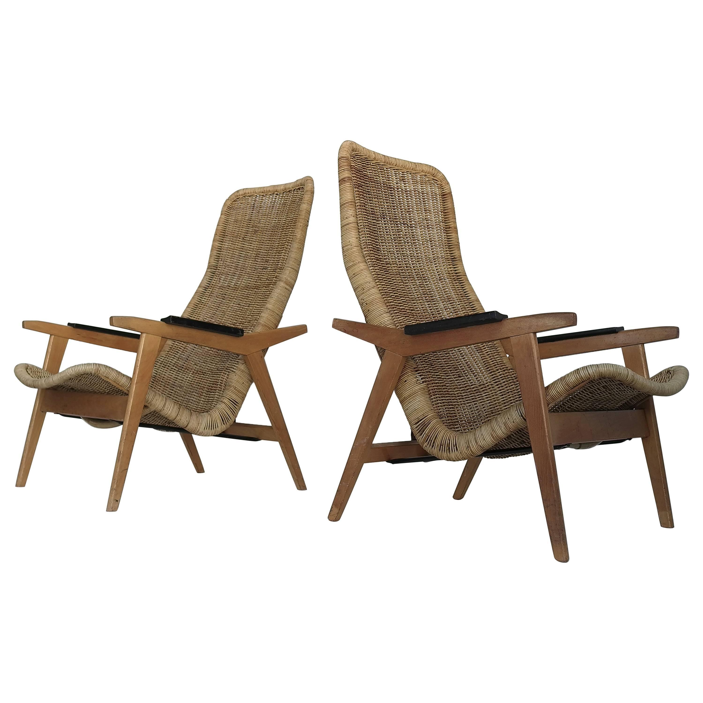 Rare Set of Dirk Van Sliedregt Rattan Lounge Chairs