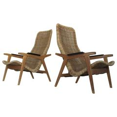 Rare Set of Dirk Van Sliedrecht Rattan Lounge Chairs