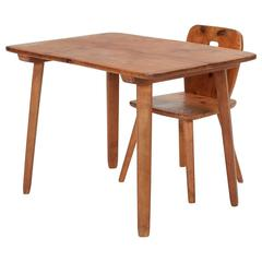 Jacob Müller Swiss Childrens Table and Chair Ash, 1930s